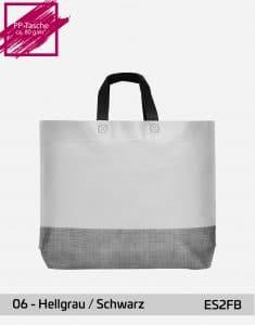 einkaufstasche shopper 2 farbig mit bodenfalte hellgrau schwarz