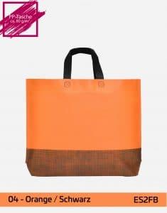 einkaufstasche shopper 2 farbig mit bodenfalte orange schwarz