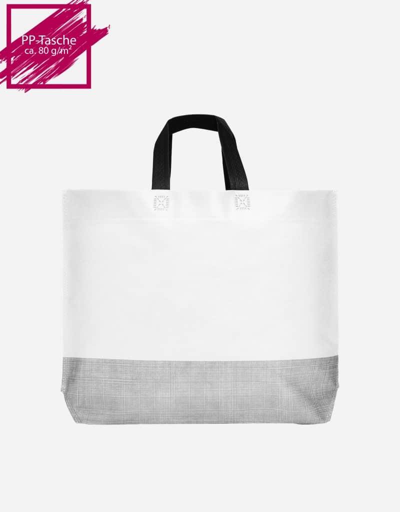 einkaufstasche shopper 2 farbig mit bodenfalte weiss schwarz vorschaubild