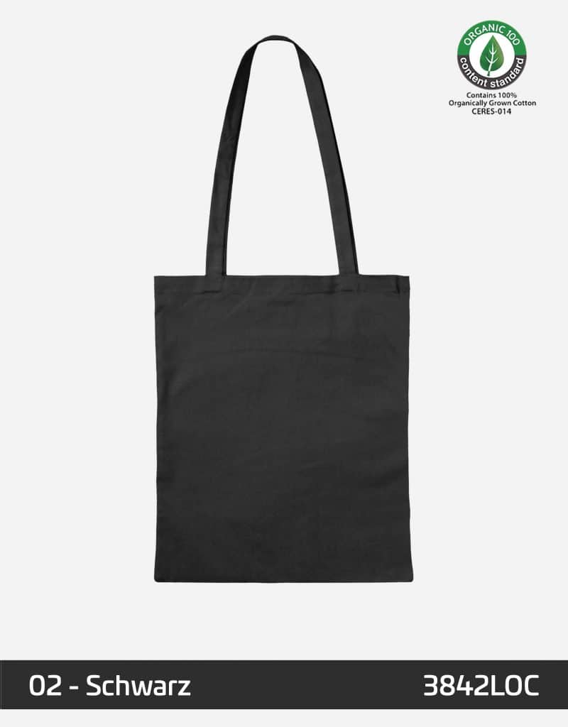 osc baumwolltasche schwarz lange henkel 38 x 42 cm