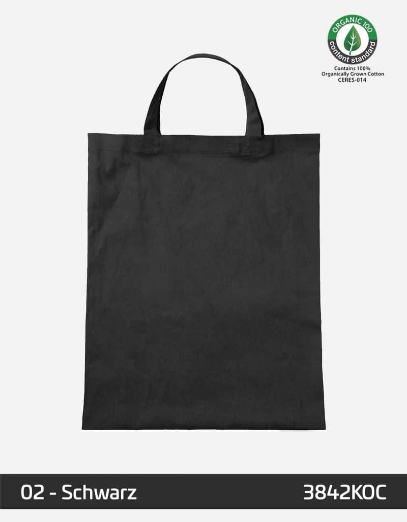 osc baumwolltasche schwarz kurze henkel 38 x 42 cm