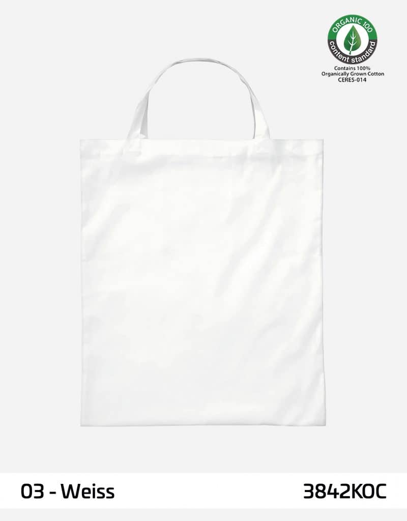 osc baumwolltasche weiss kurze henkel 38 x 42 cm