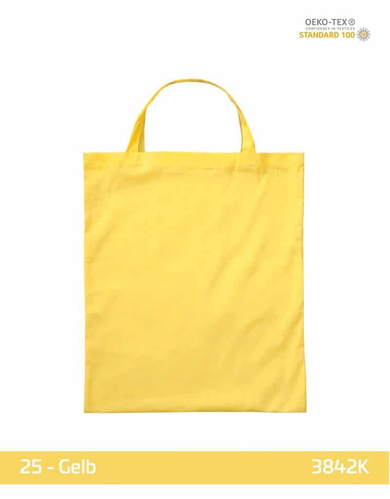 baumwolltasche gelb kurze henkel 38x42 cm