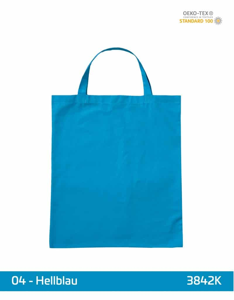 baumwolltasche hellblau kurze henkel 38x42 cm