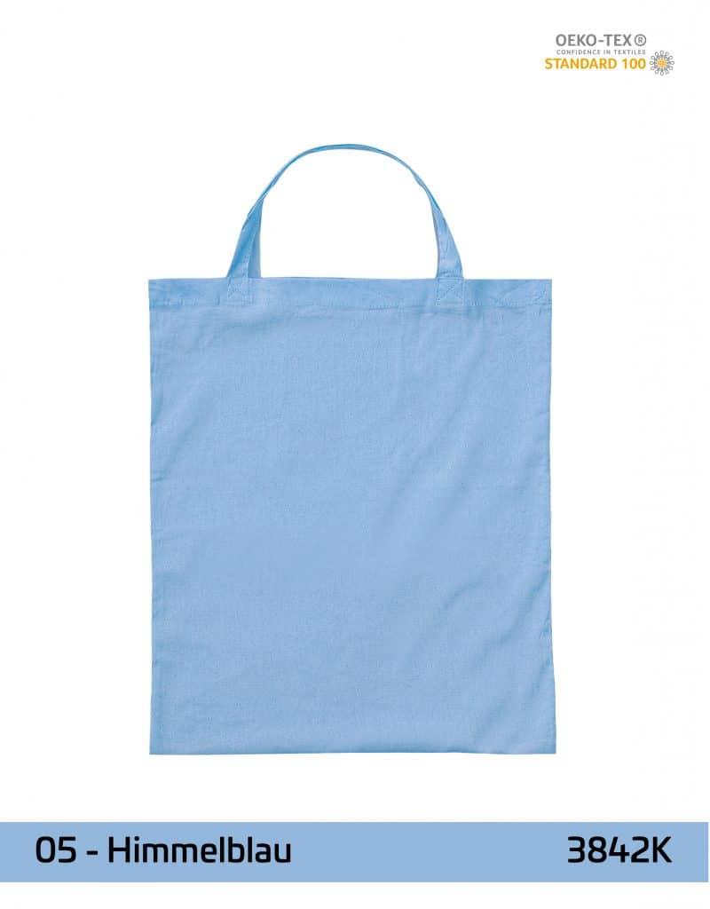 baumwolltasche himmelblau kurze henkel 38x42 cm