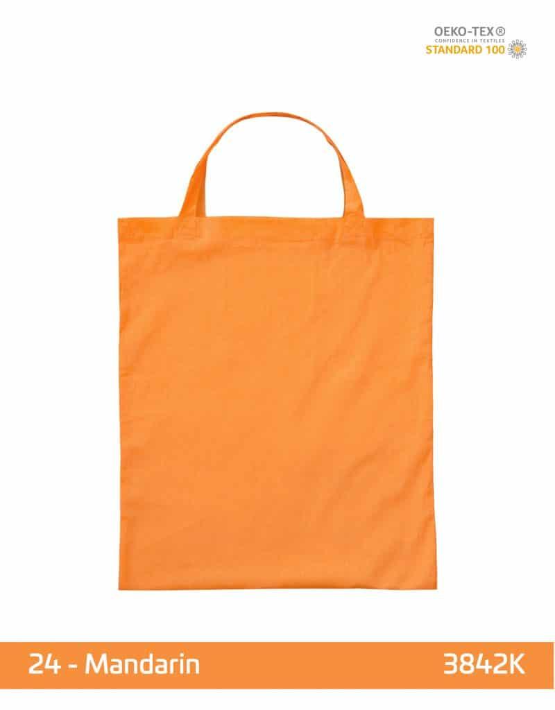 baumwolltasche mandarin kurze henkel 38x42 cm