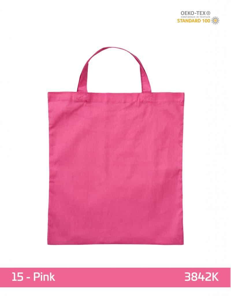 baumwolltasche pink kurze henkel 38x42 cm