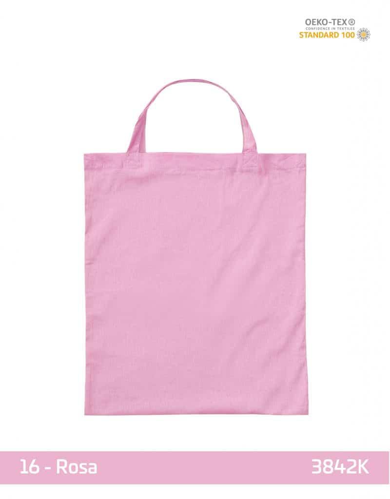 baumwolltasche rosa kurze henkel 38x42 cm