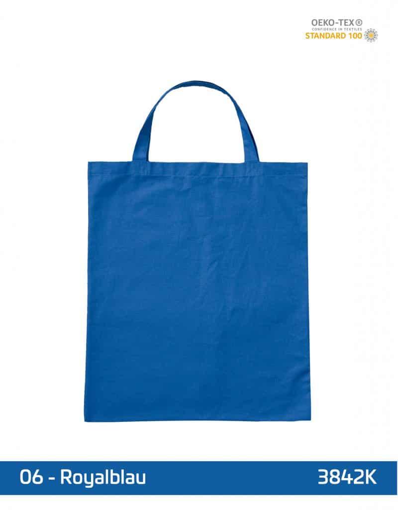baumwolltasche royalblau kurze henkel 38x42 cm