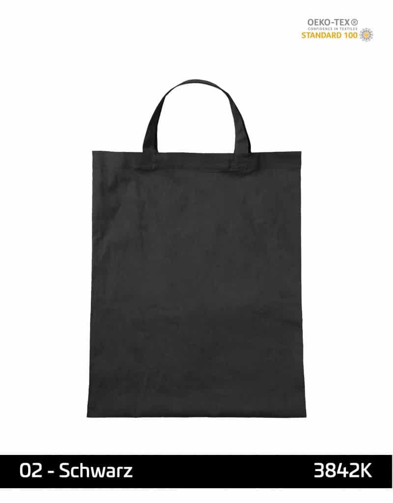 baumwolltasche schwarz kurze henkel 38x42 cm