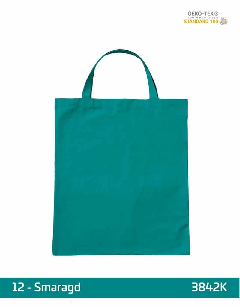 baumwolltasche smaragd kurze henkel 38x42 cm