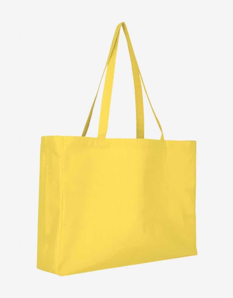 Baumwolltasche XL Shopper Querformat mit Boden Seitenfalte Gelb 48 x 36 x 12 cm