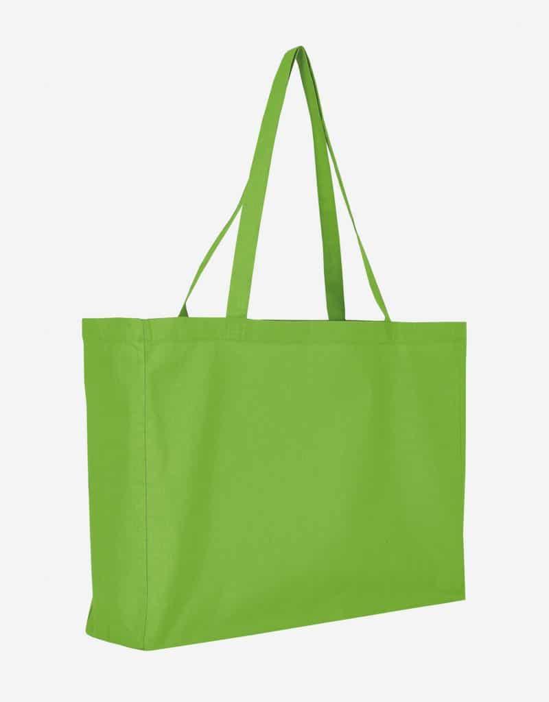 Baumwolltasche XL Shopper Querformat mit Boden Seitenfalte Hellgrün 48 x 36 x 12 cm