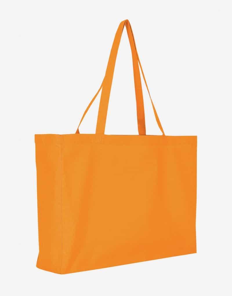 Baumwolltasche XL Shopper Querformat mit Boden Seitenfalte Mandarin 48 x 36 x 12 cm