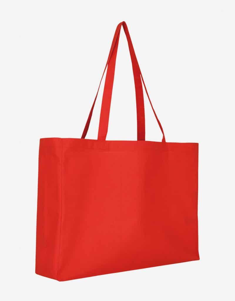 Baumwolltasche XL Shopper Querformat mit Boden Seitenfalte Rot 48 x 36 x 12 cm