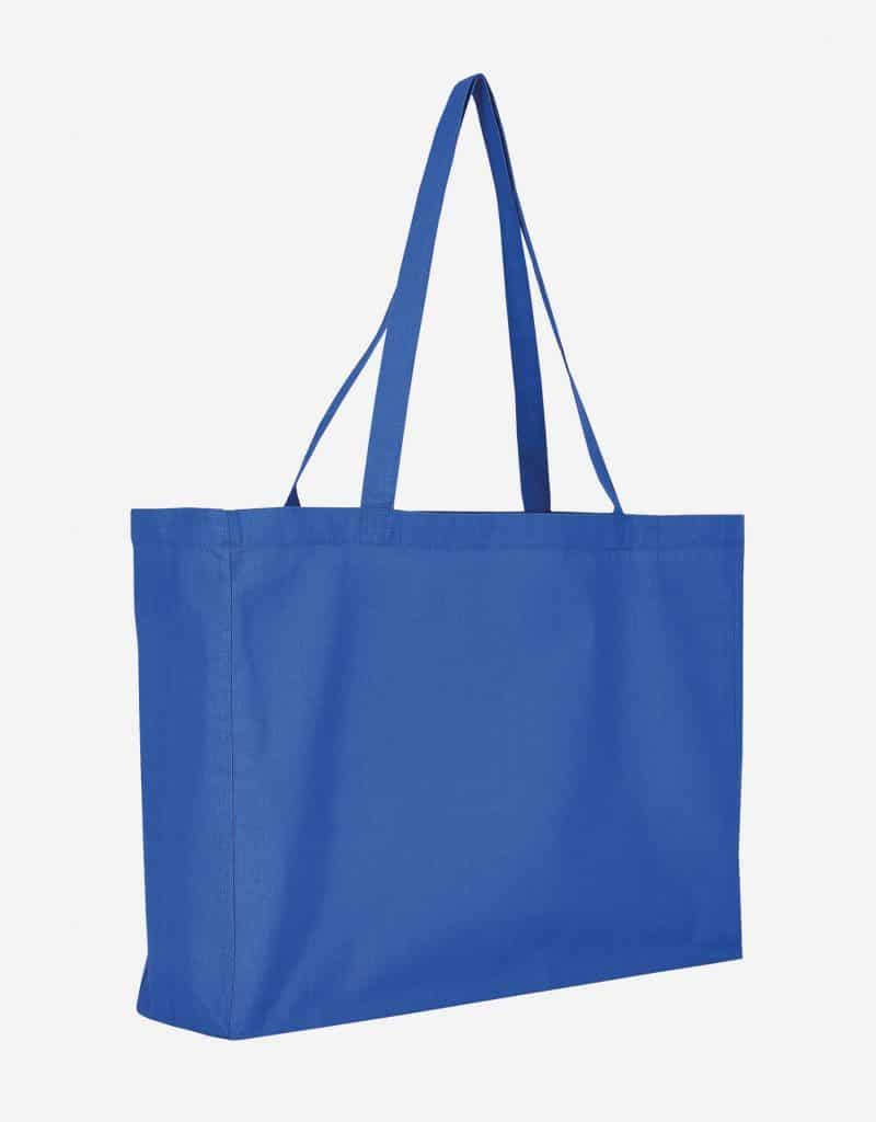 Baumwolltasche XL Shopper Querformat mit Boden Seitenfalte Royalblau 48 x 36 x 12 cm