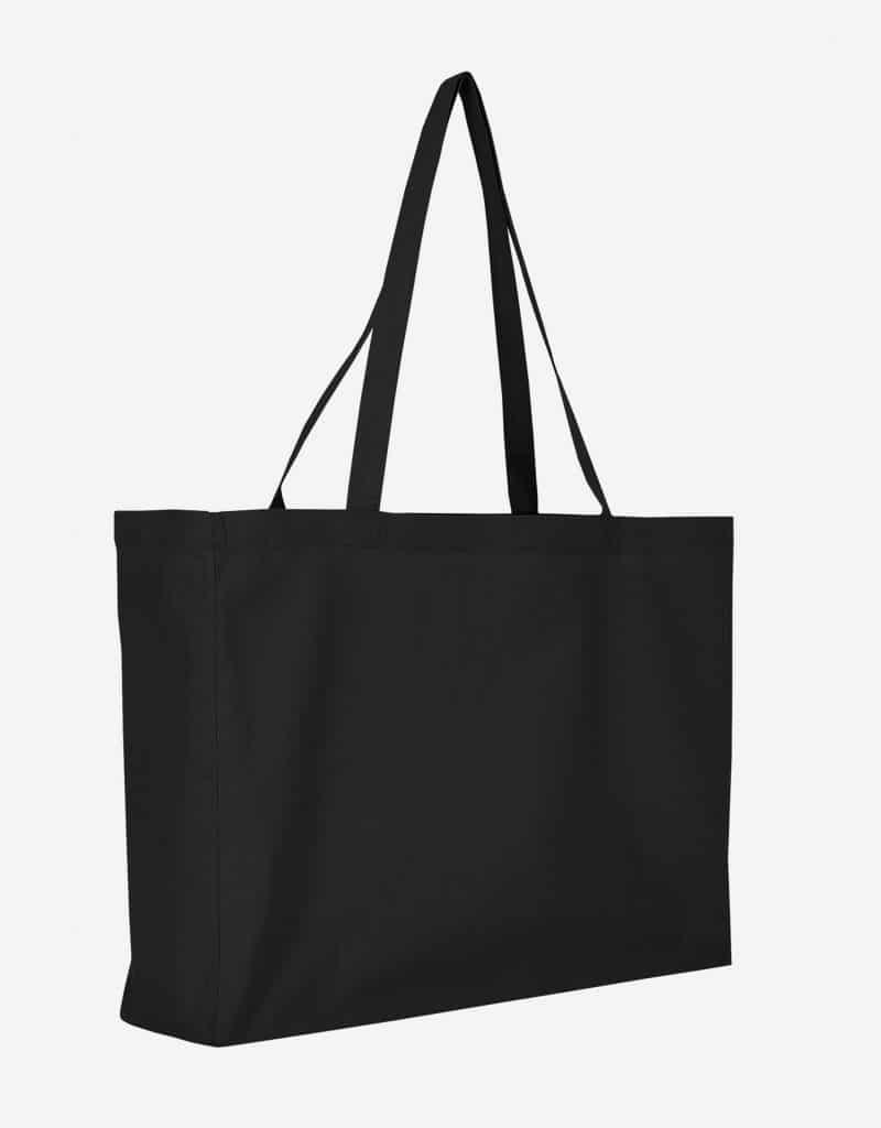 Baumwolltasche XL Shopper Querformat mit Boden Seitenfalte Schwarz 48 x 36 x 12 cm