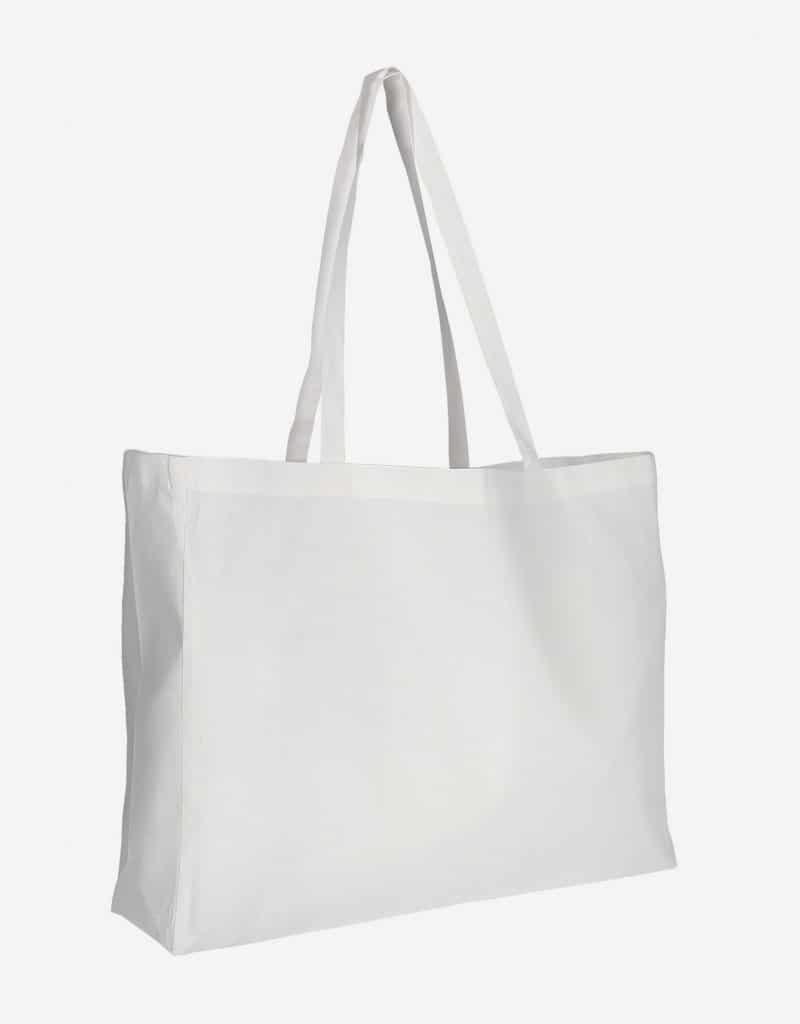 Baumwolltasche XL Shopper Querformat mit Boden Seitenfalte Weiss 48 x 36 x 12 cm