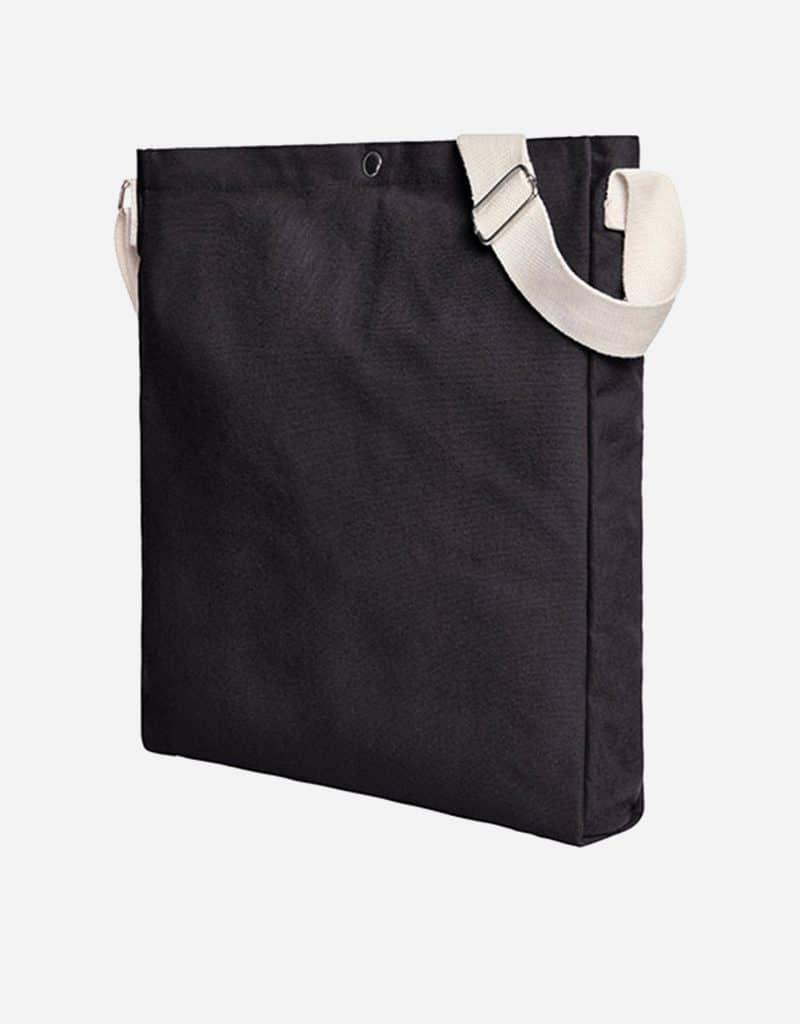 Gradliniger Shopper mit laengenverstellbarer Baumwoll-Schultergurt 32 x 38 x 5 cm black