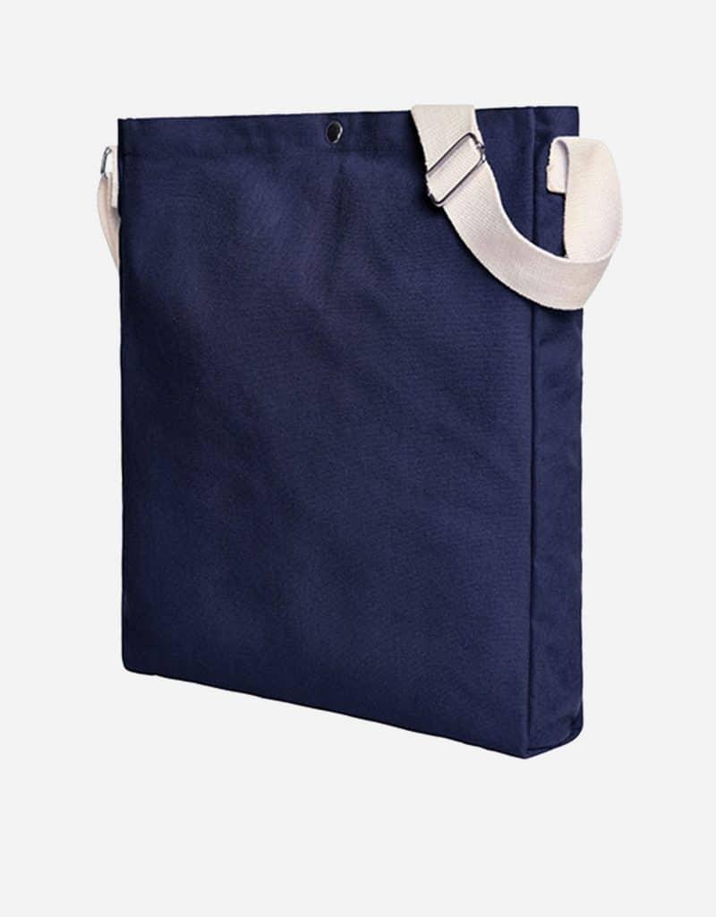 Gradliniger Shopper mit laengenverstellbarer Baumwoll-Schultergurt 32 x 38 x 5 cm navy
