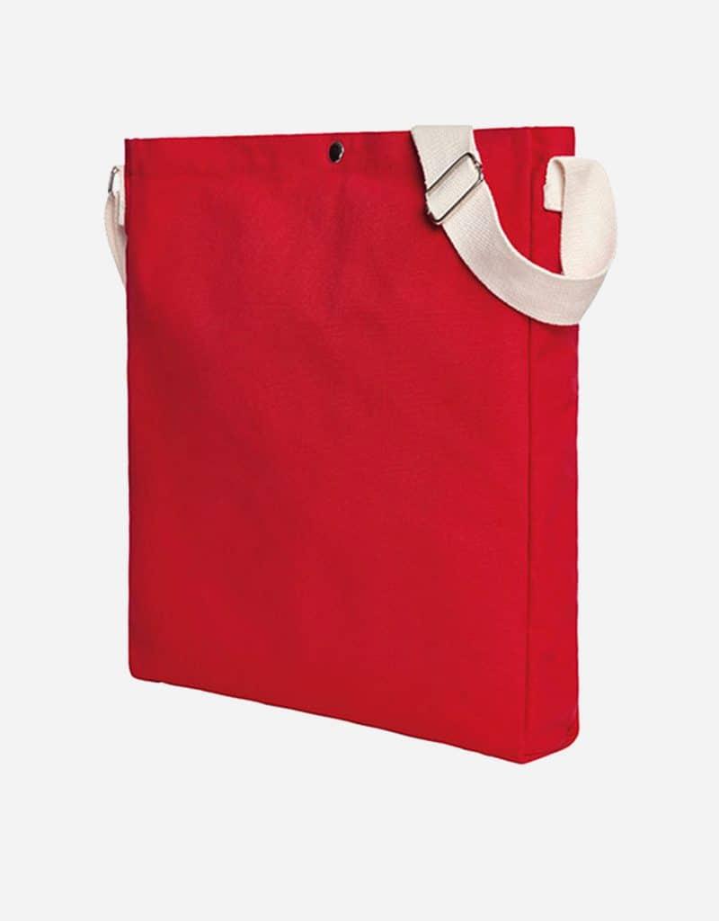 Gradliniger Shopper mit laengenverstellbarer Baumwoll-Schultergurt 32 x 38 x 5 cm red