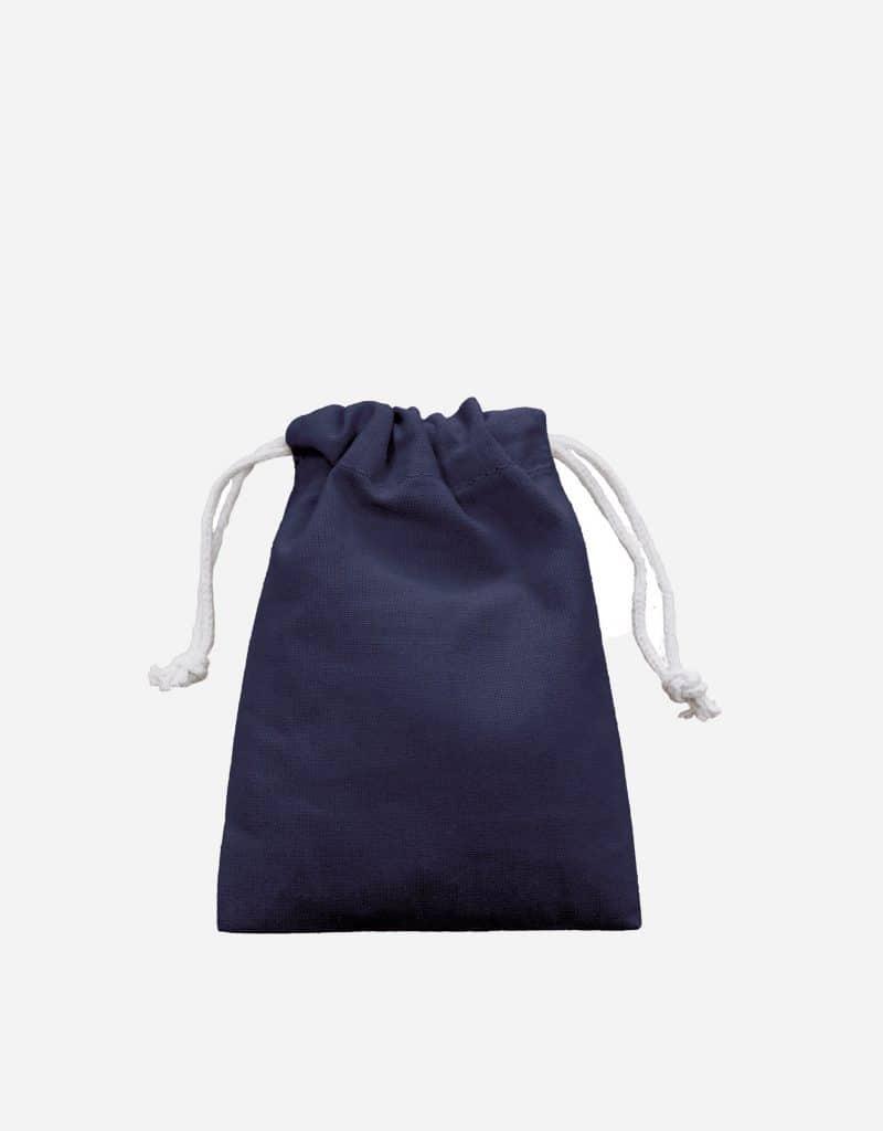 Zuziehbeutel aus Baumwolle Blau XS 10 x 14 cm