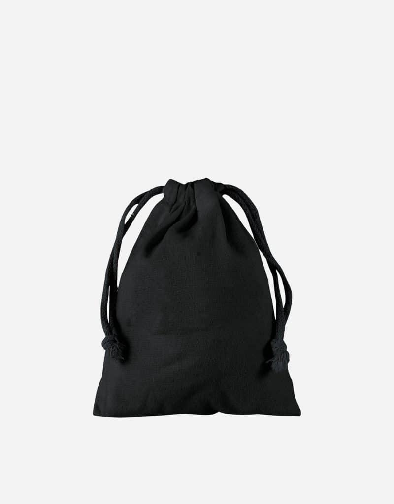 Zuziehbeutel aus Baumwolle Schwarz XS 10 x 14 cm