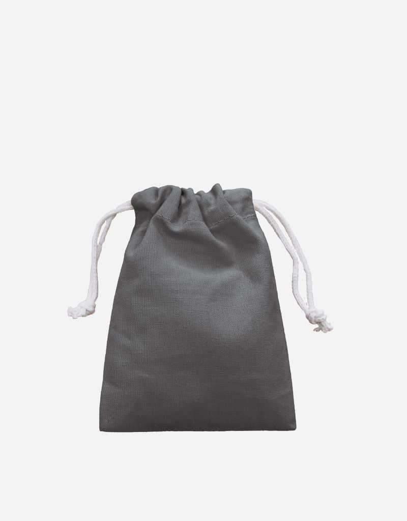 Zuziehbeutel aus Baumwolle Stahlgrau XS 10 x 14 cm