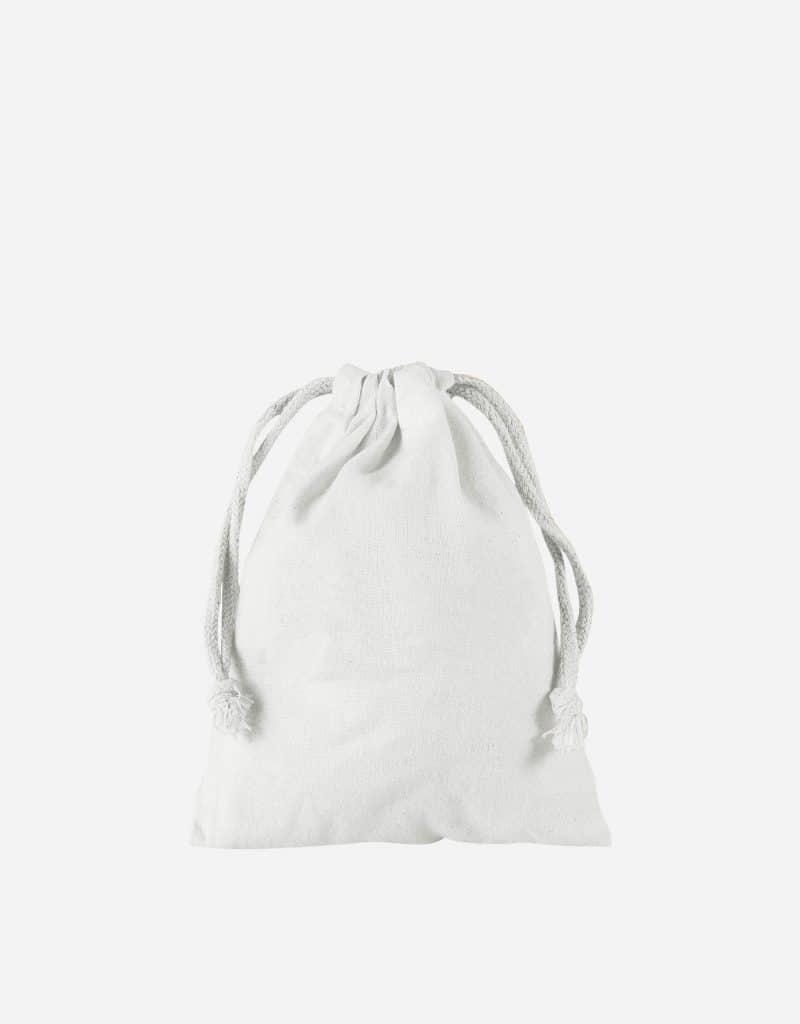 Zuziehbeutel aus Baumwolle Weiss XS 10 x 14 cm