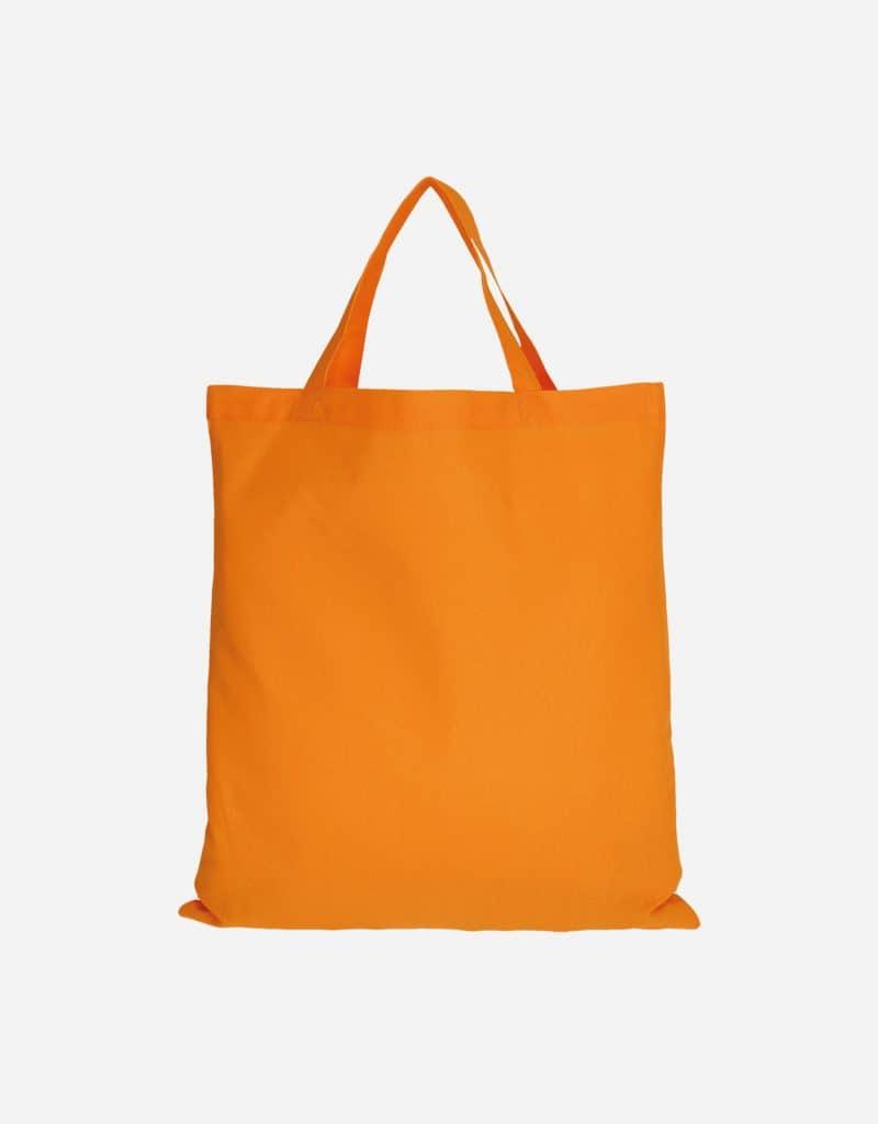 baumwolltasche basic mit zwei kurze henkeln 38 x 42 cm mandarin