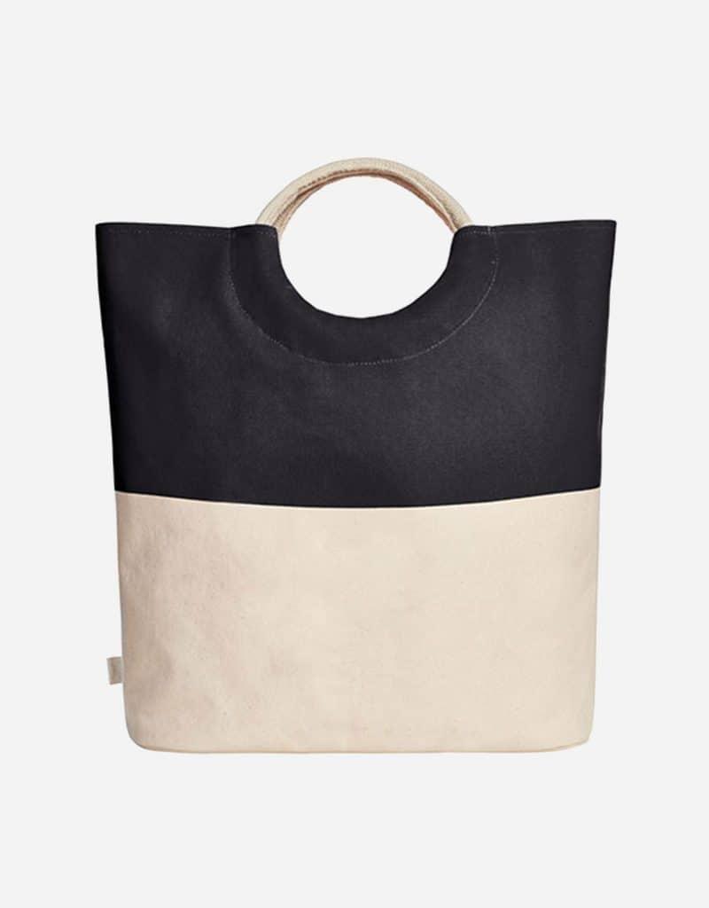 grosser shopper aus baumwolle mit runden henkeln 52 x 46 x 17 cm black
