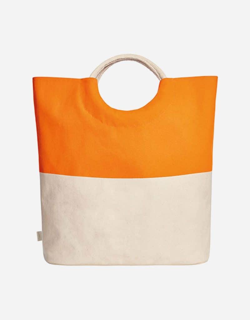 grosser shopper aus baumwolle mit runden henkeln 52 x 46 x 17 cm orange