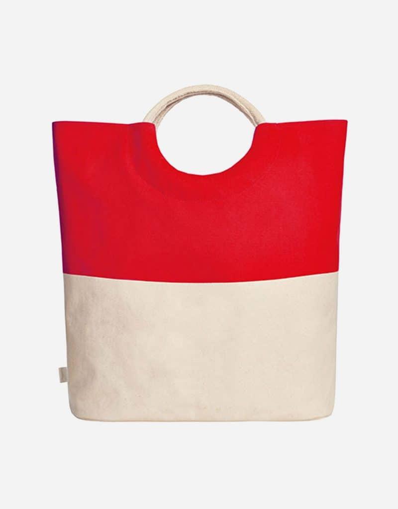 grosser shopper aus baumwolle mit runden henkeln 52 x 46 x 17 cm red