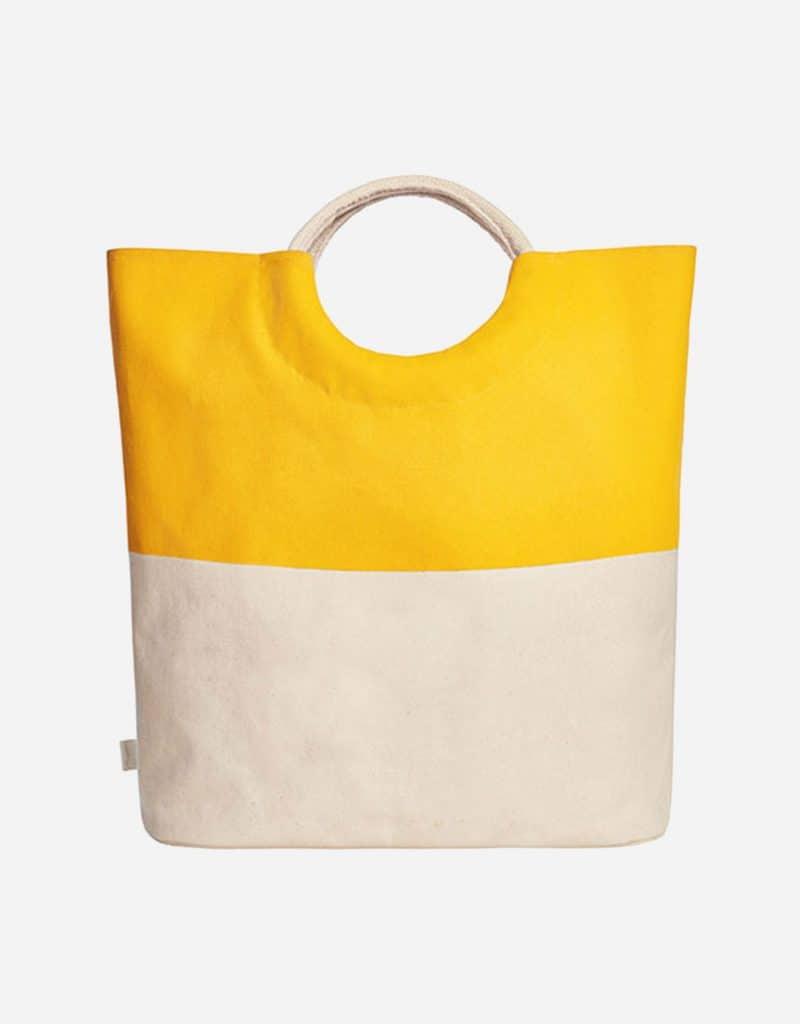 grosser shopper aus baumwolle mit runden henkeln 52 x 46 x 17 cm yellow