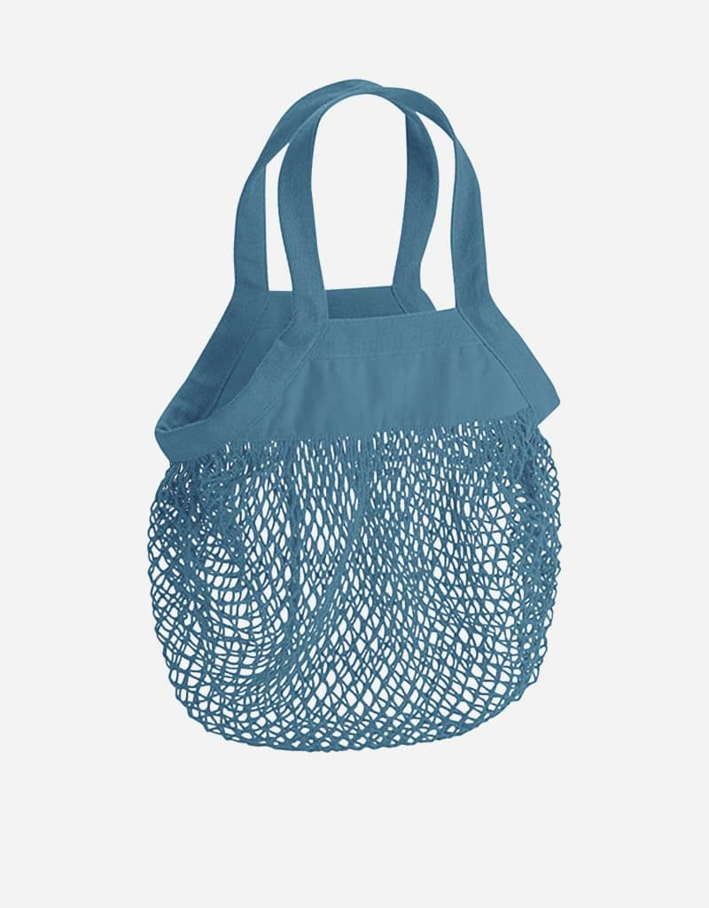 mini baumwoll netzttasche mit kurze henkel 34 x 34 cm airforce blue