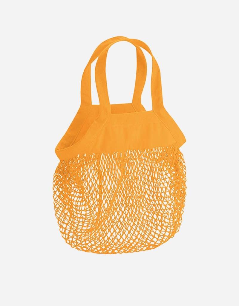 mini baumwoll netzttasche mit kurze henkel 34 x 34 cm amber