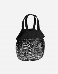 mini baumwoll netzttasche mit kurze henkel 34 x 34 cm black