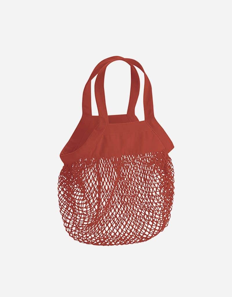 mini baumwoll netzttasche mit kurze henkel 34 x 34 cm orange rust
