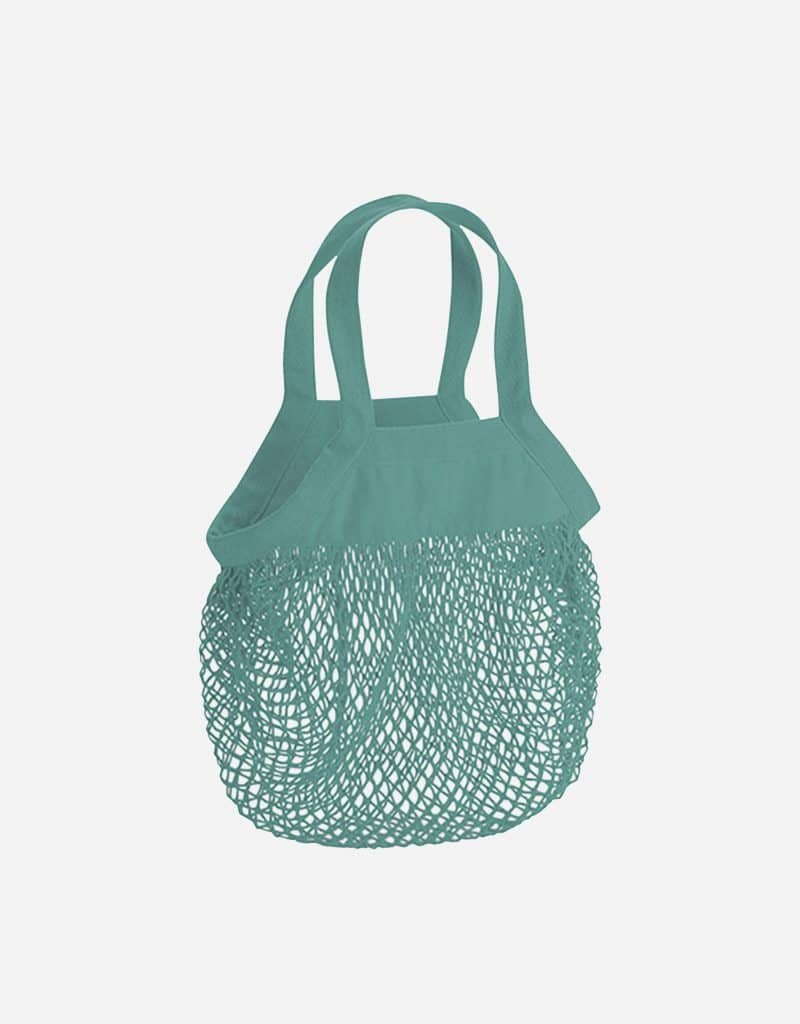 mini baumwoll netzttasche mit kurze henkel 34 x 34 cm sage green