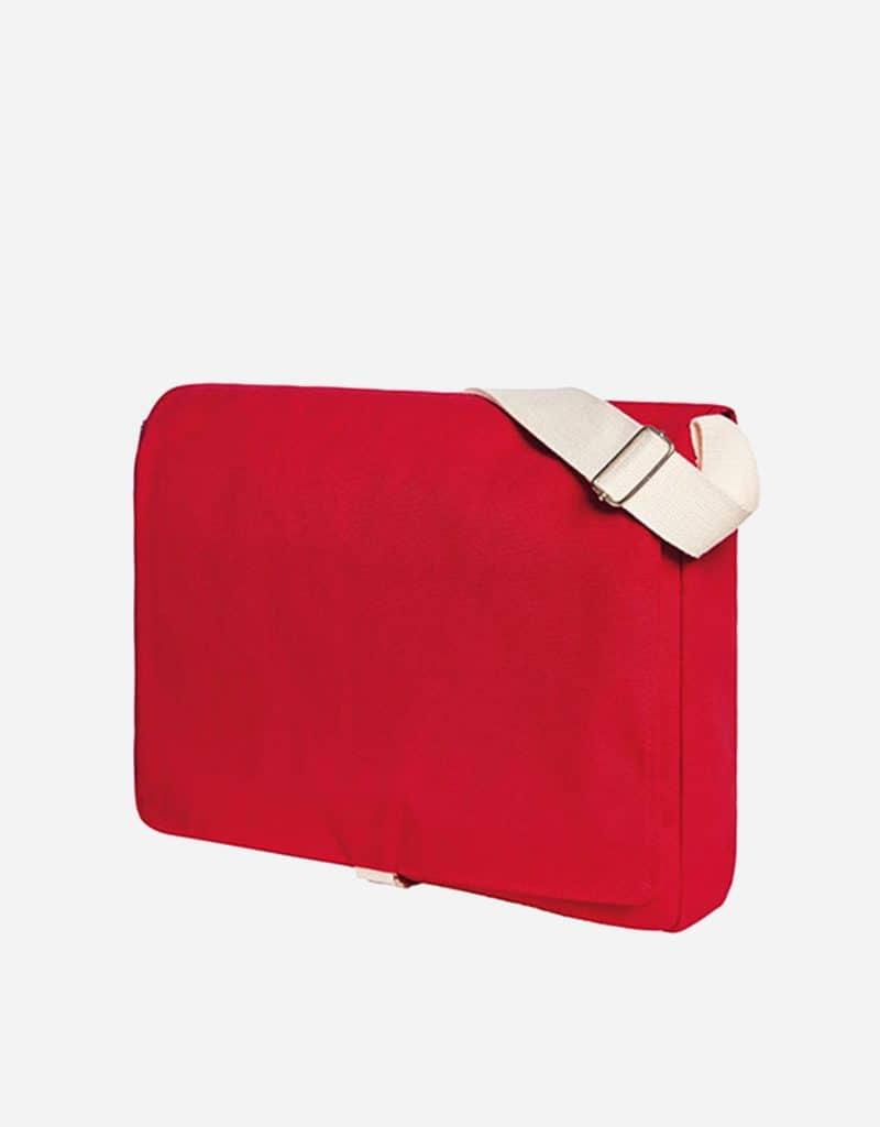 umhaengetasche mit laengenverstellbarer baumwoll schultergurt-37 x 31 x 7 cm red