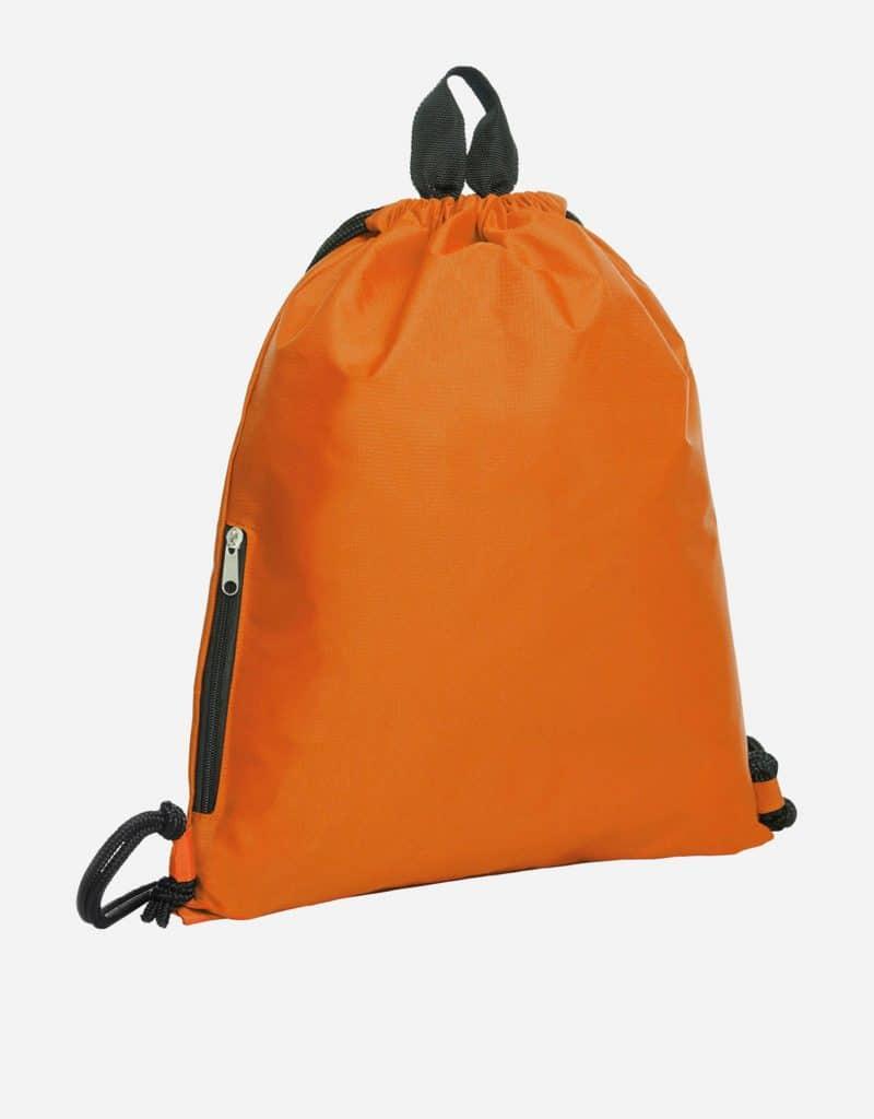 zugbeutel join 36 x 45 cm mit extra reissverschluss-seitentasche orange