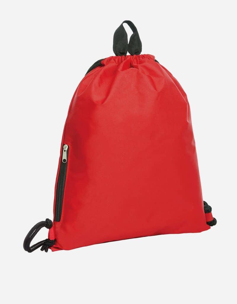 zugbeutel join 36 x 45 cm mit extra reissverschluss-seitentasche rot