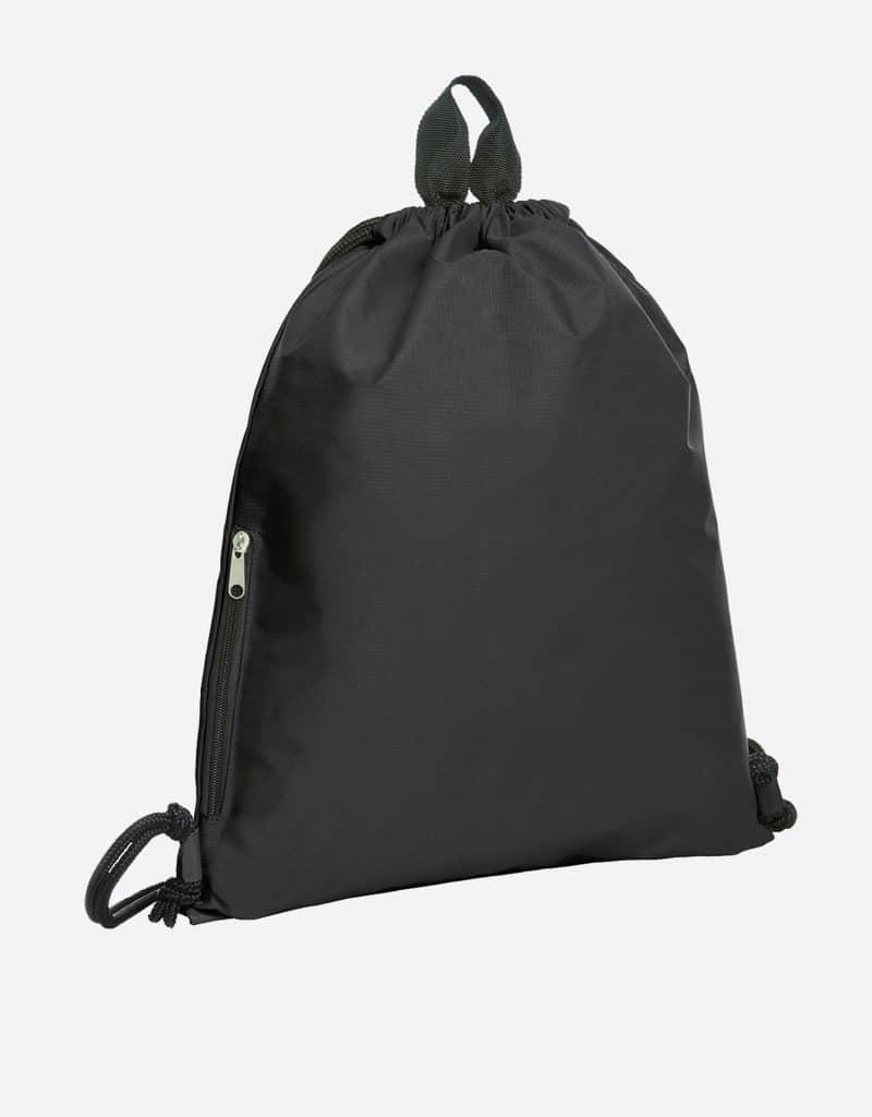 zugbeutel join 36 x 45 cm mit extra reissverschluss-seitentasche schwarz